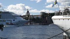 Stern of youth hopstel ship AF Chapman - Stockholm in Summer sunshine Stock Footage