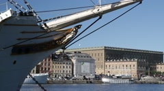 Bow of AF Chapman ship youth hostel in Stockholm in Summer sunshine Stock Footage