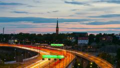 Highway E4 and sunset, Stockholm, Sweden - stock footage