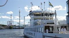 Djurgården ferry - Stockholm in Summer sunshine Stock Footage
