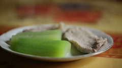 A dish of boiled vegetable and pork meat. Stock Footage