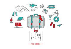 Traveler, icons - stock illustration