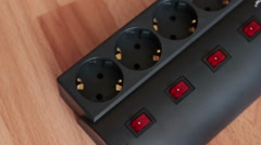 Surge protector. Switch on/off. Stock Footage