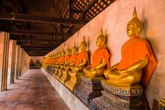 AYUTTHAYA, THAILAND - SEPTEMBER 20: The main hall of Wat Putthaisawan with go - stock photo