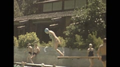 Vintage 16mm film, 1941, at the poolside, color Stock Footage