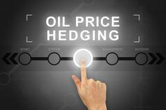 hand clicking oil price hedging button on a screen interface - stock illustration