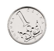 Czech one-crown coin made of nickel-plated steel Stock Photos