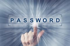 hand clicking on password button - stock illustration