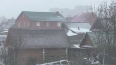 Winter landscape, snowfall in October Stock Footage