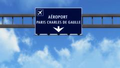4K Passing Paris Charles De Gaulle France Highway Airport Sign with Matte 4 s Stock Footage