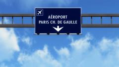 4K Passing Paris Charles De Gaulle France Highway Airport Sign with Matte 2 s Stock Footage