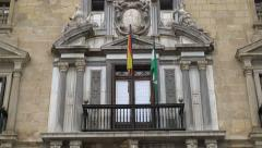 Pan up on historic government building in Granada, Spain. Stock Footage