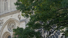 Closer look of the Notre Dame Cathedral Stock Footage
