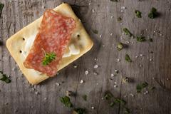Appetizers with salami and cheese Stock Photos