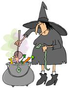 Witch making soup in a cauldron Stock Illustration