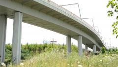 View of the long bridge in the suburb - many columns - grassland Stock Footage