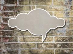 Cloud paper old grunge brick wall background Stock Illustration