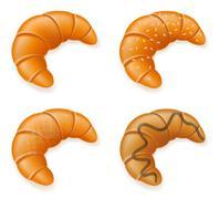 set icons of fresh crispy croissants vector illustration - stock illustration