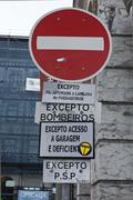 Stop road sign in Lisbon - stock photo