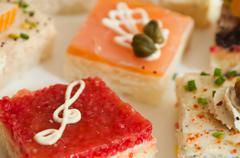 Closeup group of mini toasts Stock Photos