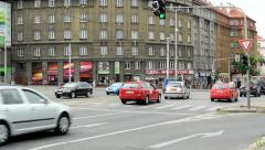Rush intersection in the center of the city - close up Stock Footage
