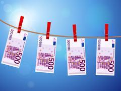 Five hundred euro banknotes on clothesline Stock Illustration
