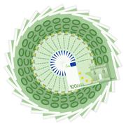 one hundred euro banknotes - stock illustration