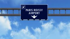 4K Passing Paris Charles De Gaulle France Highway Airport Sign with Matte 12  Stock Footage