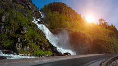 Latefossen waterfall Norway Stock Footage