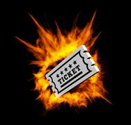 Burning ticket. Vector illustration with fire Stock Illustration