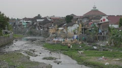 Dirty river in centre,Yogyakarta,Java,Indonesia Stock Footage