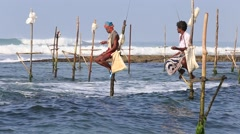 Local fishermen are fishing in sea water. Sri Lanka Stock Footage