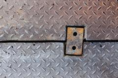 Dirty metal diamond grip pattern - stock photo