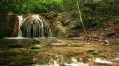 Waterfall In Forest. Crimea, Ukraine. Stock Footage