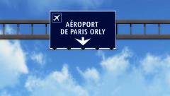 4K Passing Paris Orly France Highway Airport Sign with Matte 2 stylized Stock Footage