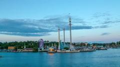 Gröna Lund amusement park in Stockholm, Sweden Stock Footage