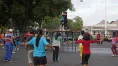 People doing aerobic,Yogyakarta,Java,Indonesia Stock Footage