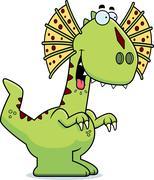 Hungry Cartoon Dilophosaurus Stock Illustration