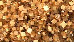 Cubes grow up filling the screen, then scale down, gold. white, ao, alpha Stock Footage