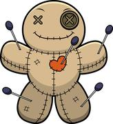 Happy Cartoon Voodoo Doll - stock illustration