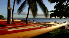 Outrigger Canoes Sugar Beach, Kihei, Maui, Hawaii Stock Footage