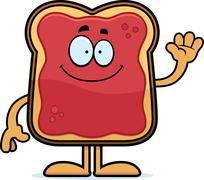 Stock Illustration of Cartoon Toast With Jam Waving