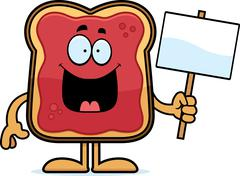 Stock Illustration of Cartoon Toast With Jam Sign
