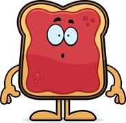 Stock Illustration of Surprised Cartoon Toast With Jam