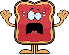 Scared Cartoon Toast With Jam Stock Illustration