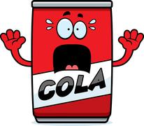 Scared Cartoon Cola Can Stock Illustration