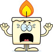 Scared Cartoon Candle Stock Illustration