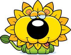 Cartoon Goofy Dandelion Lion - stock illustration