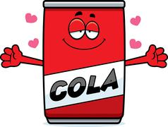Cartoon Cola Can Hug - stock illustration