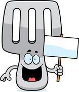 Cartoon Spatula Sign - stock illustration